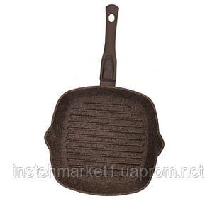 Сковорода-гриль БІОЛ 26143П (260x260 мм) антипригарне покриття, зйомна бакелітова ручка Soft-touch, фото 2