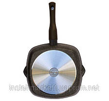 Сковорода-гриль БИОЛ 28143П (280x280 мм) антипригарное покрытие, съёмная бакелитовая ручка Soft-touch, фото 2