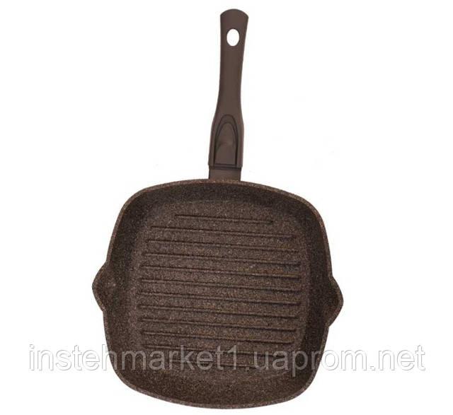 Сковорода-гриль БИОЛ 28143П (280x280 мм) антипригарное покрытие, съёмная бакелитовая ручка Soft-touchв интернет-магазине