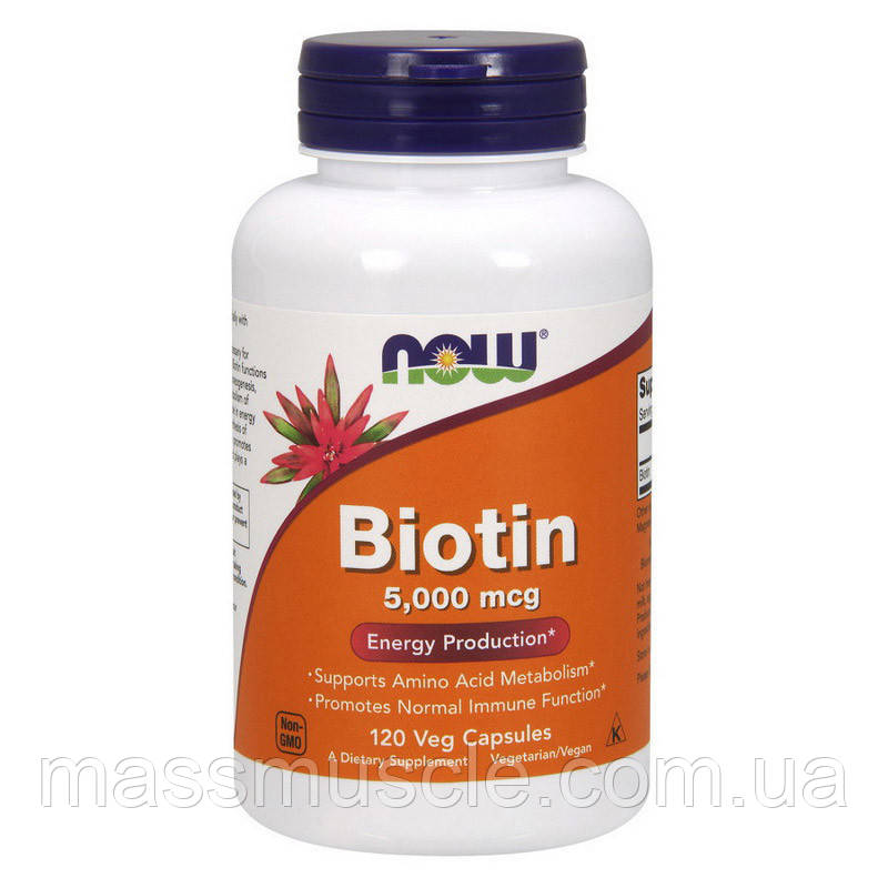 Витамины NOW Foods Biotin 5000 mcg 120 caps