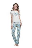 Пижама для женщин, комплект для дома, штаны и футболка, гортензия, LNP 148/001, 95% хлопок, ELLEN