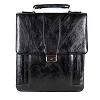 Мужской портфель из искусственной кожи вертикальный черного цвета