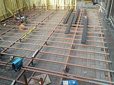 Монтаж металлическогокаркаса террасы на регулируемых опорах.