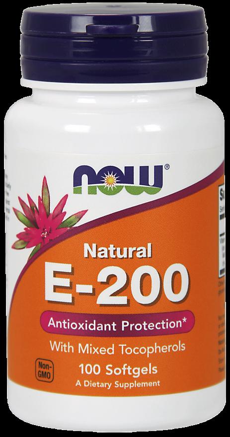 Витамины NOW Foods E-200 mixed 100 softgels