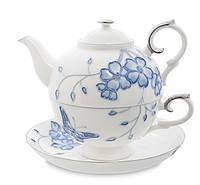 "Чайный набор (чашка и чайник) Pavone ""Голубая бабочка"" JS-33"
