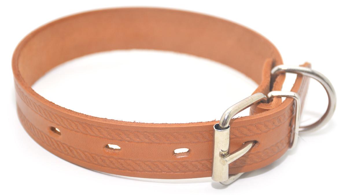 Ошейник для собак кожаный тисненный ОТ Цепочка рыжий