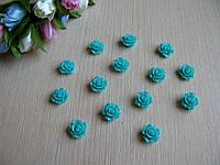 Серединка акриловая - Бирюзовая роза малышка р-р - 9 мм цена 7.5 грн - 10 шт