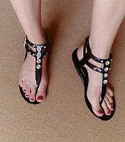 Сандалии (вьетнамки) силиконовые черные с камнями (23,5 см)