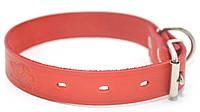 Ошейник для собак кожаный тисненный ОТ Лорд красный, фото 1