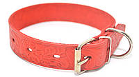 Ошейник для собак кожаный тисненный ОТ Кружево красный, фото 1
