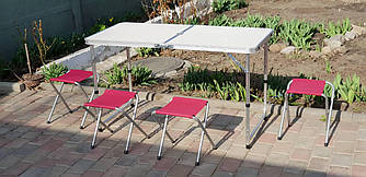 Складной стол + 4 стула набор туристический