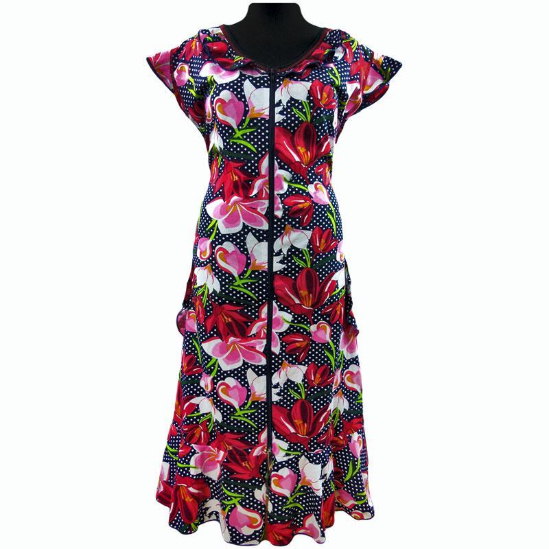 Халат крыло на молнии женский летний яркий в цветах!
