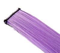 Канекалон сереневый цвет Накладные цветные пряди волосы на заколках фиолетовый