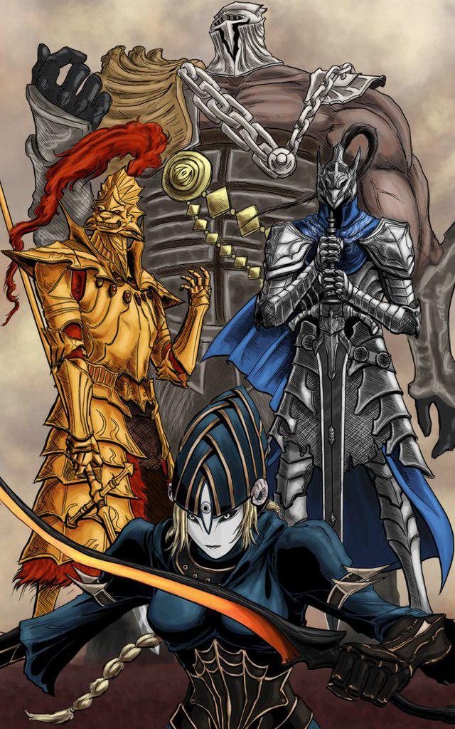 Картина GeekLand 40х60см  Темные Души 4 рыцаря