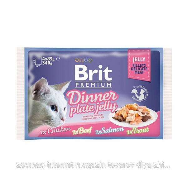Влажный корм (Пауч) Brit Premium для кошек Dinner Plate Jelly Кусочки в желе 4х85 гр