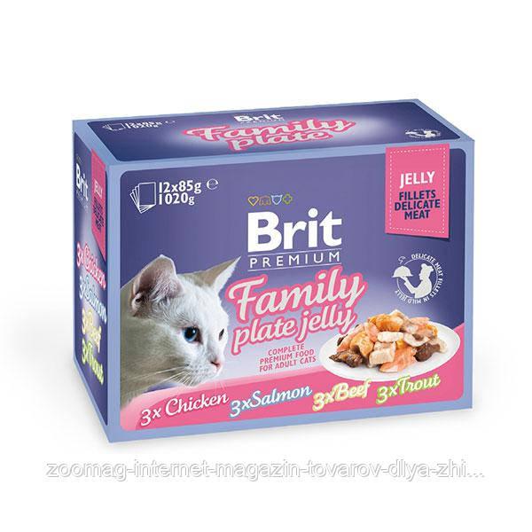 Влажный корм (Пауч) Brit Premium Cat pouch семейная тарелка в желе  12х85 гр