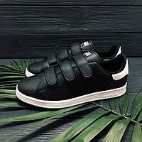 Мужские кроссовки  Adidas Stan Smith на липучках ( легкие) реплика люкс класса 1:1