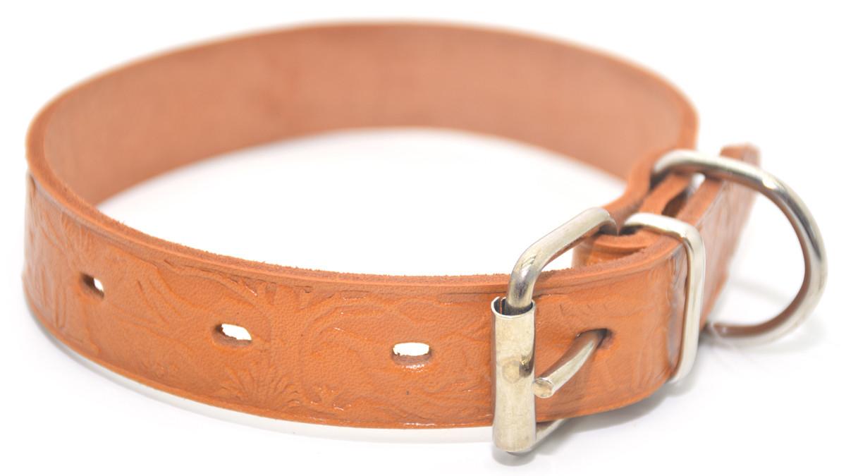 Ошейник для собак кожаный тисненный ОТ Олени рыжий