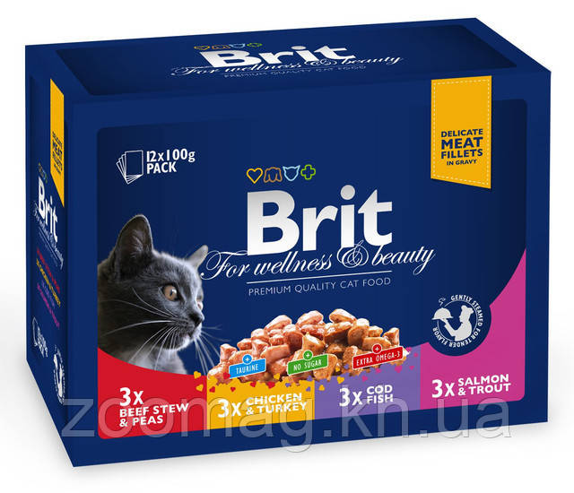 "Влажный корм Brit Premium Cat Pouches Family Plate ""Семейная тарелка 4 вкуса"" 8,5/4,5 (для взрослых кошек) 12 шт*100 гр"