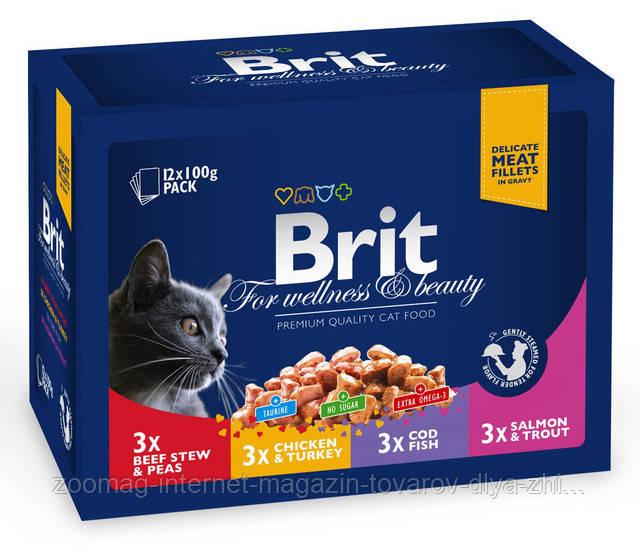 "Влажный корм Brit Premium Cat Pouches Family Plate ""Семейная тарелка 3 вкуса"" 8,5/4,5 (для взрослых кошек) 12 шт*100 гр"