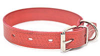 Ошейник для собак кожаный тисненный ОТ Плетенка красный