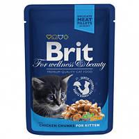 """Влажный корм Brit Premium Cat Pouch Chicken Chunks for Kitten """"Кусочки курицы"""" 9,5/5 (для котят), 100 гр"""