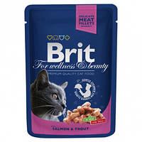 """Вологий корм Brit Premium Cat Pouch with Salmon & Trout """"Шматочки лосося і форелі"""" 8,5/4,5 (для дорослих кішок), 100 гр"""