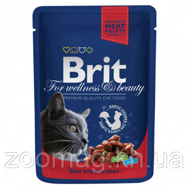 """Влажный корм Brit Premium Cat Pouches with Beef Stew & Peas """"Рагу из говядины с горошком"""" 8,5/4,5 (длявзрослых кошек), 100 гр"""