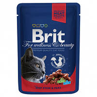 Влажный корм (Пауч) Brit Premium рагу из говядины с горошком длякотов 100 гр