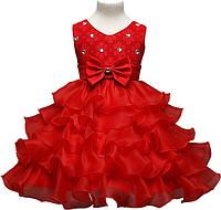 """Красное платье для девочки """"Волны"""", фото 1"""