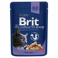 Влажный корм (Пауч) Brit Premium с треской для котов 100 гр