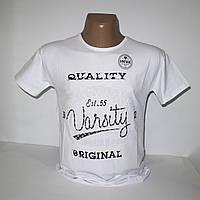 Мужская белая батальная футболка с выпуклыми буквами 3386G