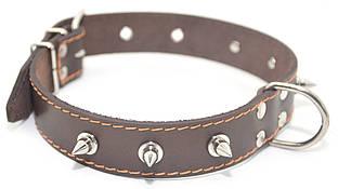 Ошейник для собак кожаный с шипами ОШ 2,5/36-45 коричневый