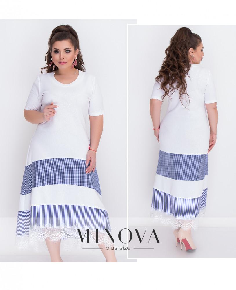 Красивое платье с гипюром на юбке 52-62 (в расцветках)
