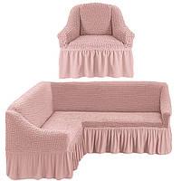 Еврочехол на угловой диван с креслом, Турция с оборкой (Грязно-розовый)