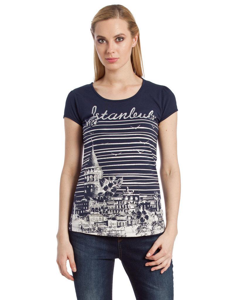 Синя жіноча футболка LC Waikiki / ЛЗ Вайкікі з написом Istanbul