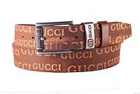 Кожаный мужской ремень в стиле Gucci, Турция, коричневый