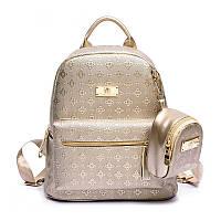 Рюкзак городской женский для девушек с кошельком (золотистый), фото 1