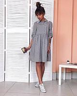 Платье женское хлопковое короткое свободного кроя P9681, фото 1