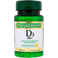 Nature's Bounty, D3, 400 МЕ, 100 таблеток