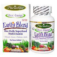 Paradise Herbs, Энергия ORAC, Earth's Blend, ежедневный сверхпитательный мультивитамин, без железа, 30 капсул на растительной основе