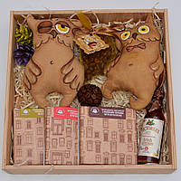 """Сладкий подарочный набор """"Две совы"""" (игрушки, шоколад, кофе, сироп)"""