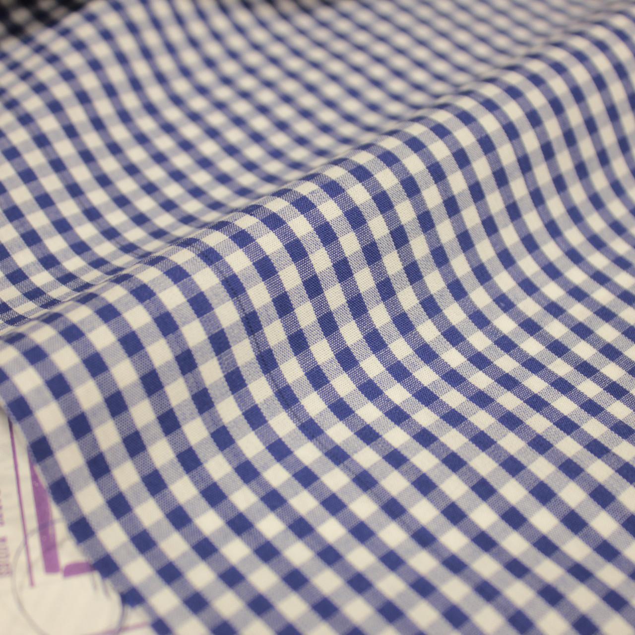 Сорочкова тканина принт клітина D-105 (від 10 метрів)