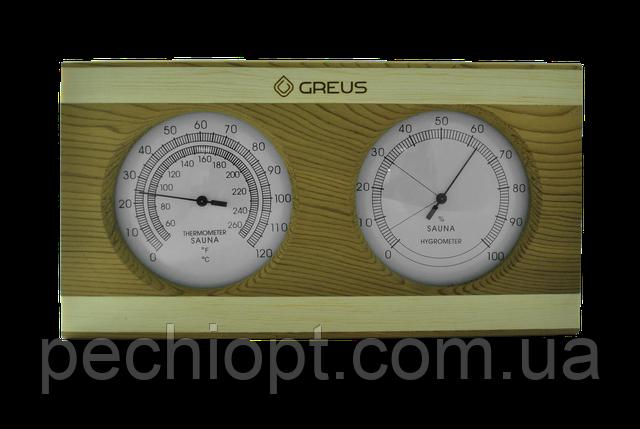 Термогигрометр Greus кедр/сосна 26х14 для бани и сауны, фото 2