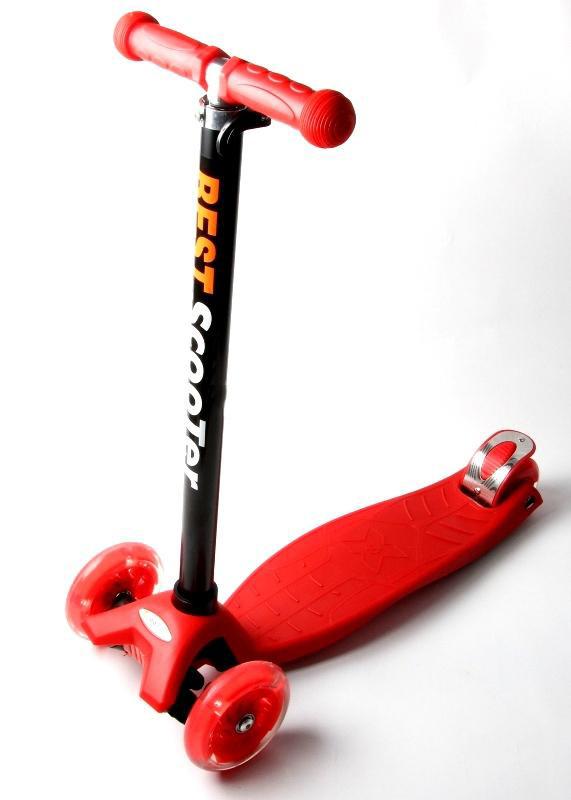Детский Трехколесный Самокат Maxi Micro T Красный Колеса Светятся