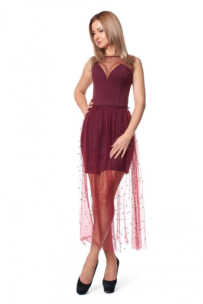 Шикарное вечернее откровенное платье с сеткой р.48