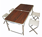 """Раскладной стол и стулья для пикника в чемодане Folding Table """"120* 60* 70 см"""" (туристический столик) темный"""