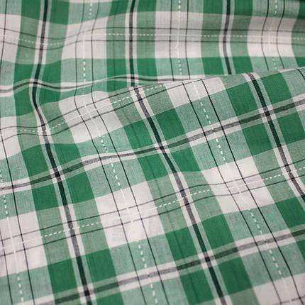 Рубашечная ткань принт клетка с вышивкой (от 10 метров), фото 2