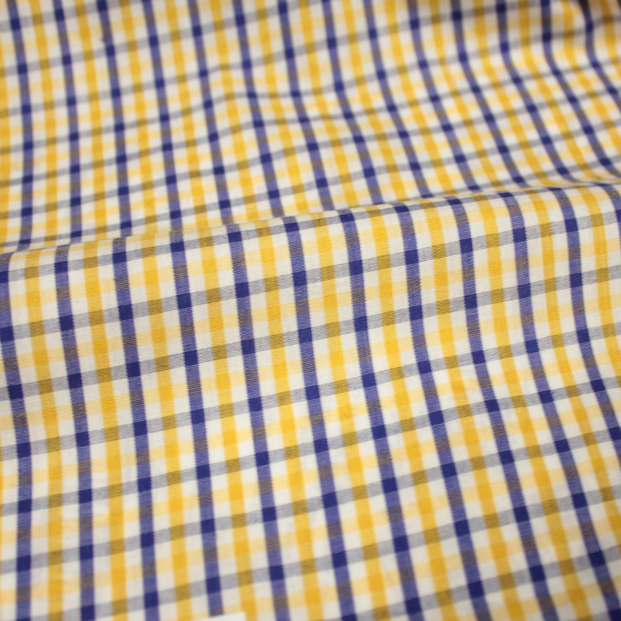 Сорочкова тканина принт клітина D-51 (від 10 метрів)