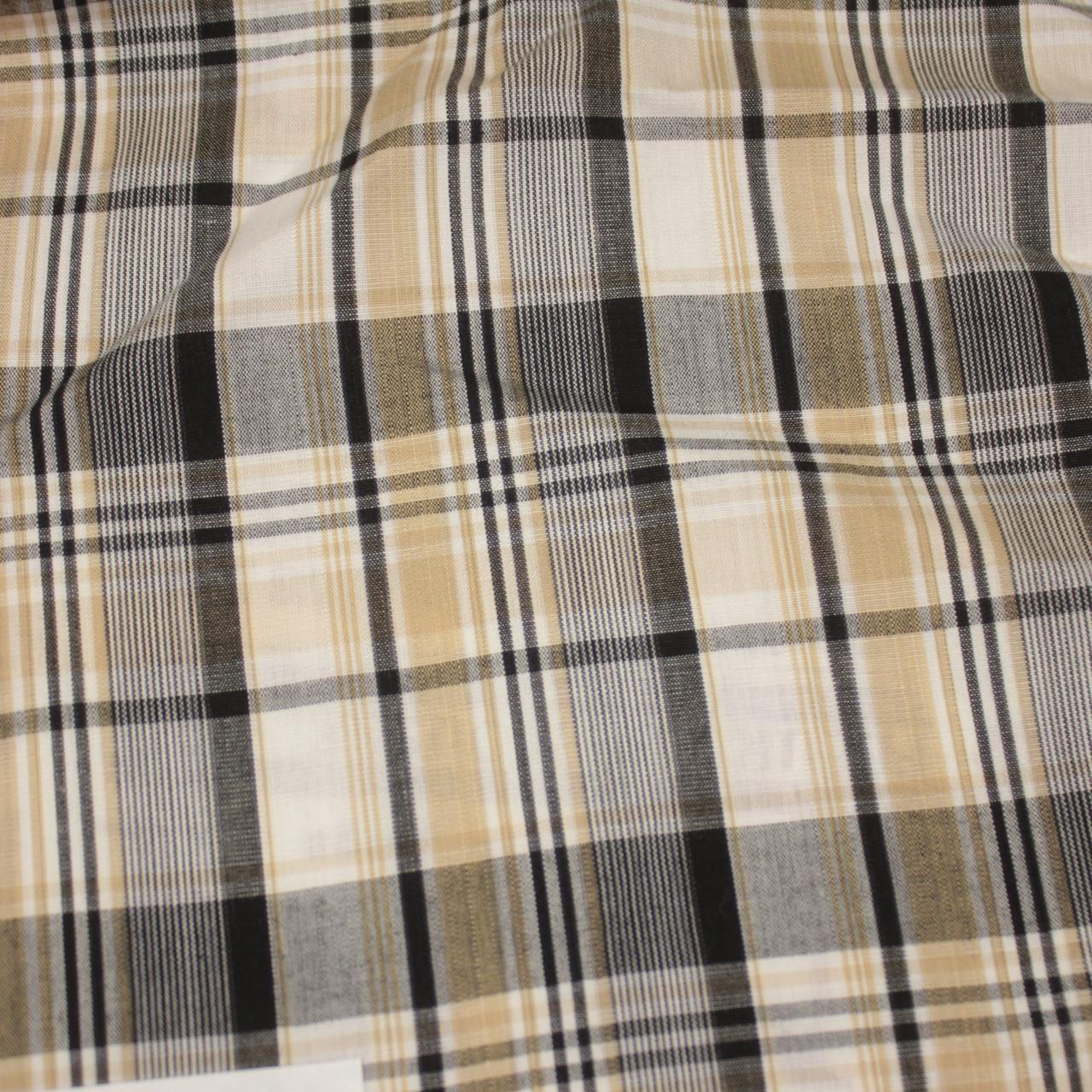 Сорочкова тканина принт клітина D-17 (від 10 метрів)
